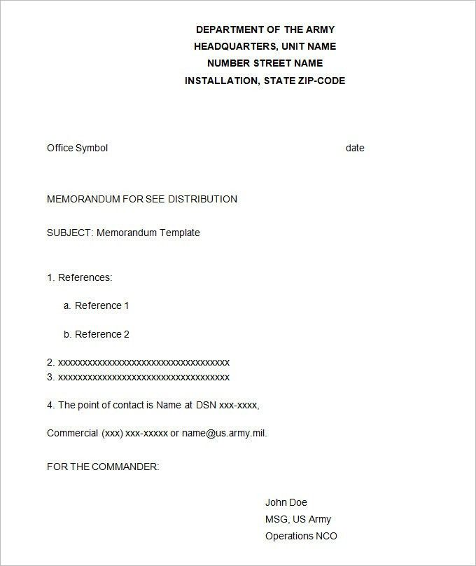 Army Memorandum Template - 4+ Free Word, PDF Documents Download ...