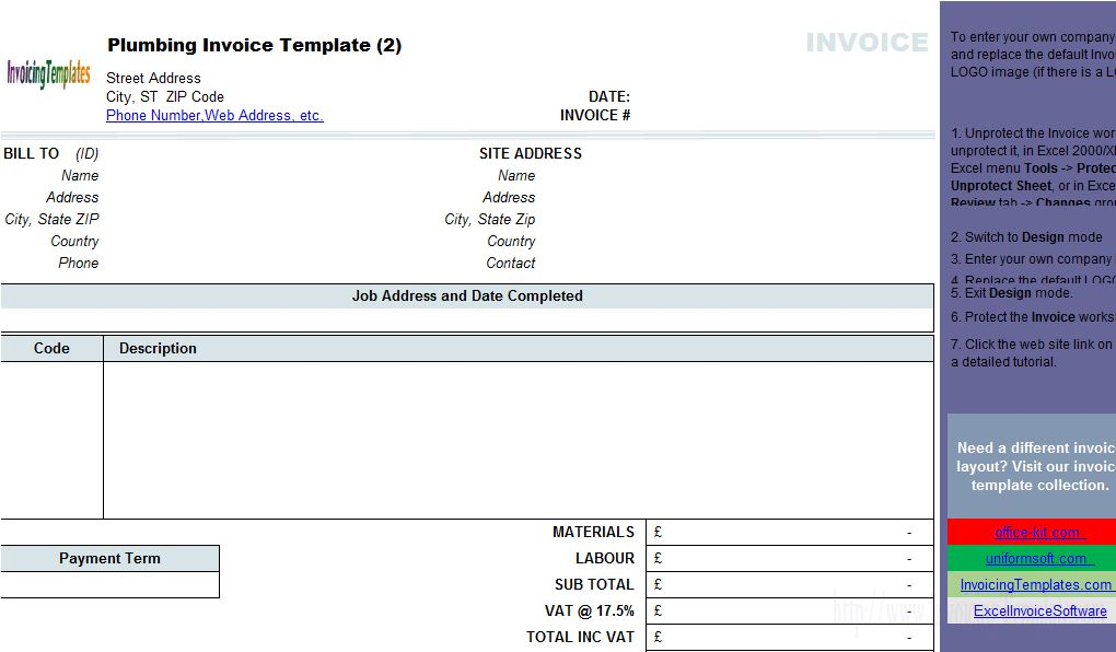 Plumbing Contractor Invoice Template (Landscape)