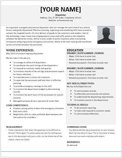 Dispatcher Resume Contents, Layouts & Templates | Resume Templates