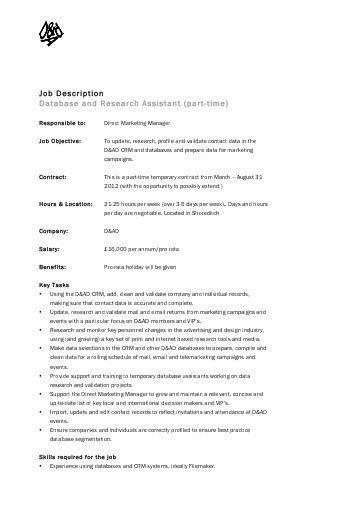 Job Description Research Assistant Position Hours: Part-Time ...