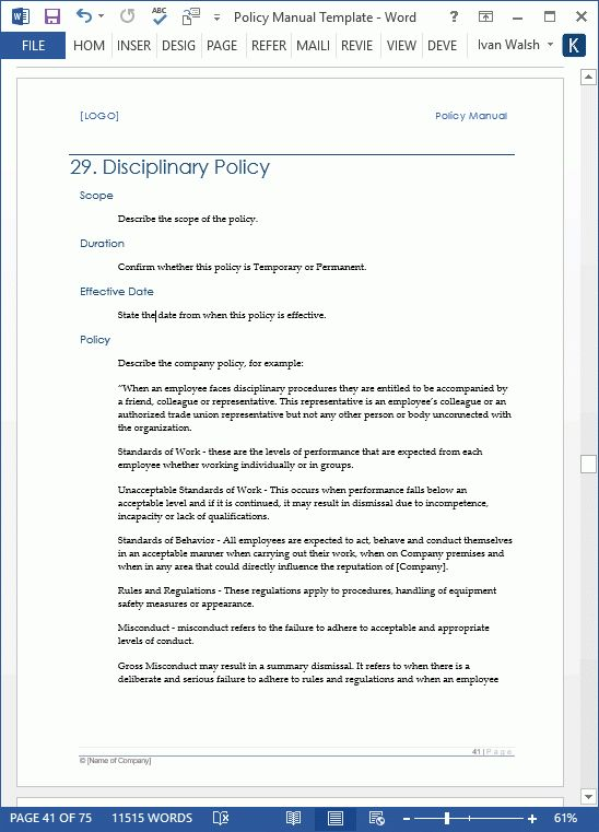 Policy Manual Templates (MS Word/Excel)