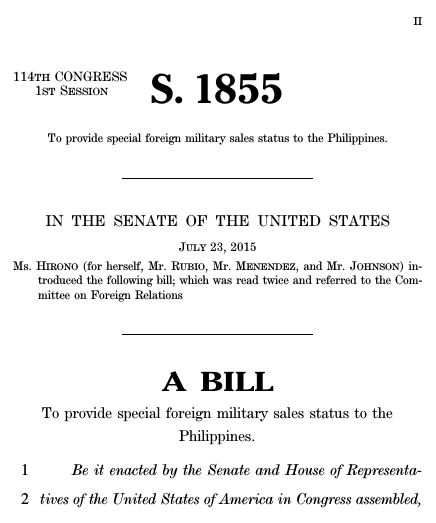A bill to provide special foreign military sales status to the ...