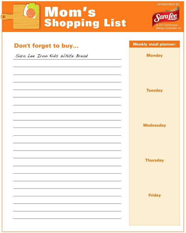Shopping list - Free Printable Coloring Pages