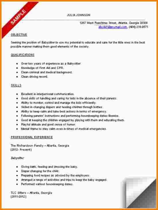 resume for babysitter resume cv cover letter. graduate babysitter ...