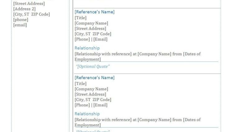 sample of resume reference page fresh sample of resume reference ...