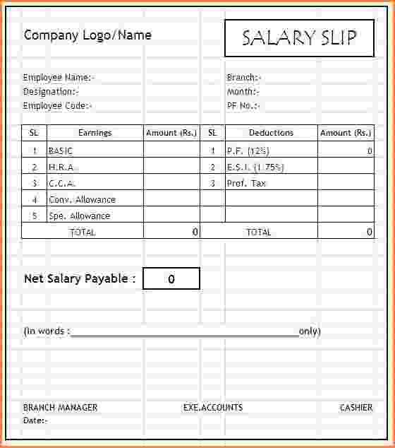 6+ format of salary slip in excel | Simple salary slip