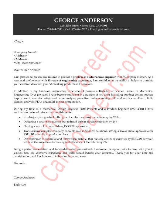 Sample Cover Letter For A Mechanical Engineer | RecentResumes.com