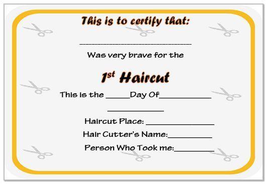 First Haircut Certificate Template - Resume Ideas - namanasa.com