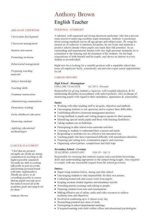 English teacher resume template, CV, examples, teaching, academic ...