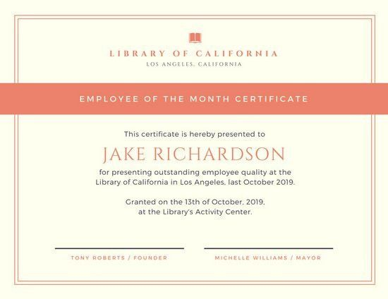 Cream with Orange Border Employee of the Month Certificate ...