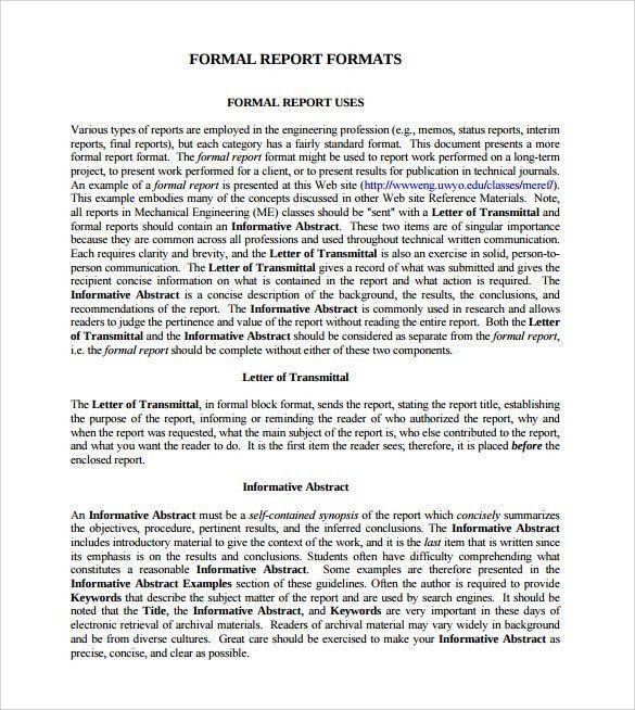 Download formal business report sample