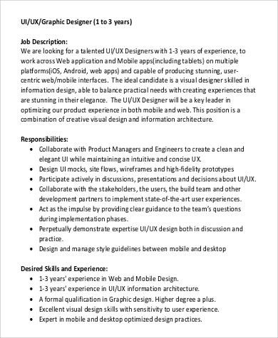 Ui Architect Job Description