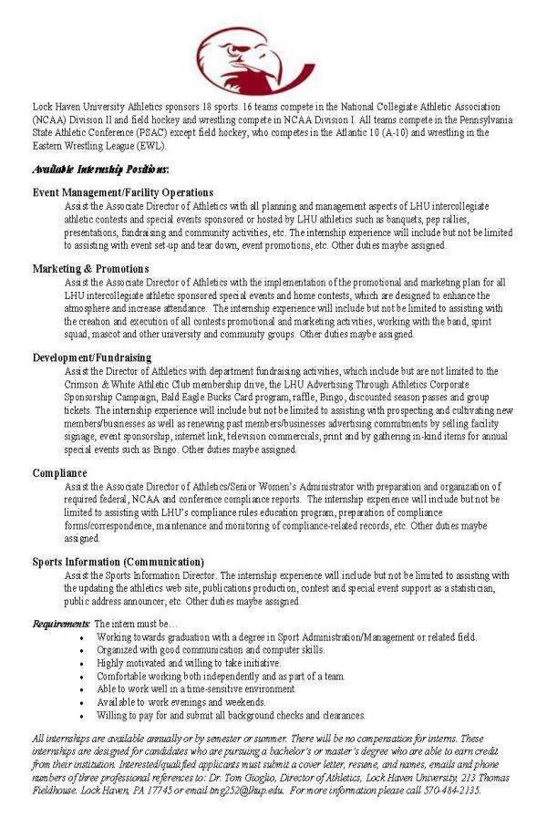 DEPARTMENT OF SPORT MANAGEMENT - Internship Opportunities ...