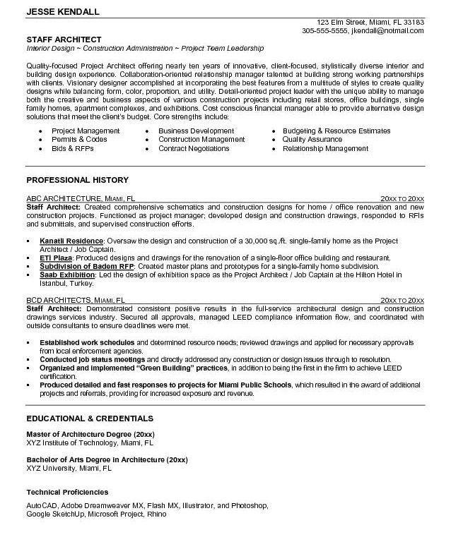 Architect Resume Samples | haadyaooverbayresort.com
