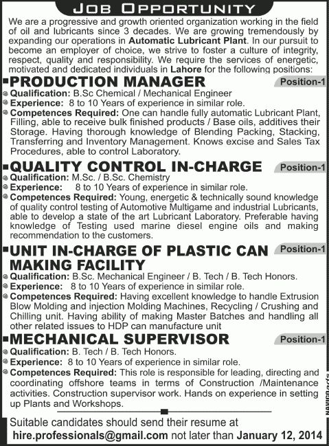 Production Manager, Quality Control Incharge & Mechanical Engineer ...