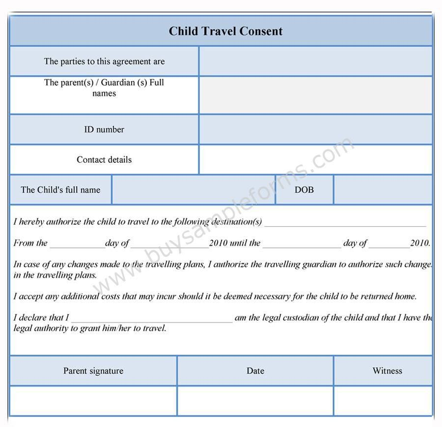 Child Travel Consent Form | Consent Form Template | Sample Forms