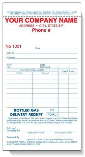 Bottled Gas Delivery Receipt | Degree Day Systems
