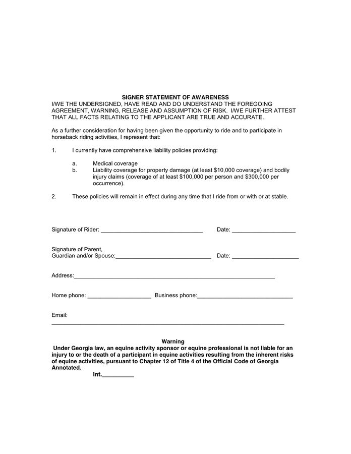 HORSE RIDING AGREEMENT AND LIABILITY RELEASE FORM in Word and Pdf ...