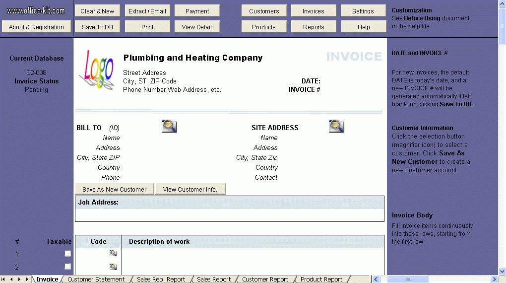 Invoice Template for Plumbing and Heating Service Company - Excel ...