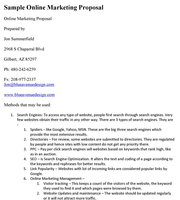 Online Marketing Proposal Template