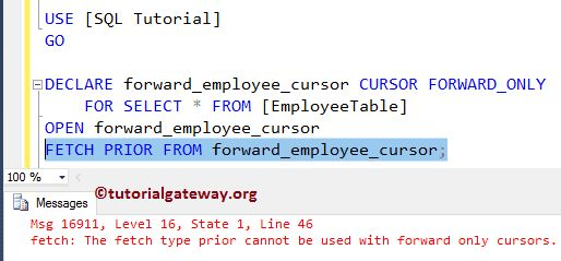 FORWARD_ONLY Cursor in SQL Server