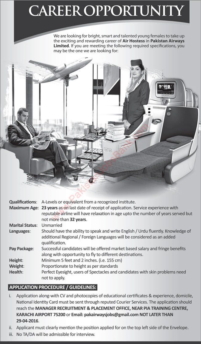 Air Hostess Jobs in Pakistan Airways Limited 2016 April Latest ...