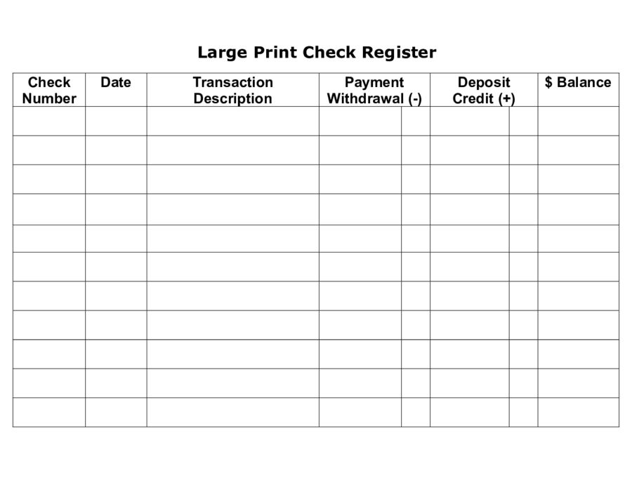 Checkbook Register - Free Printable Check Register Template in ...