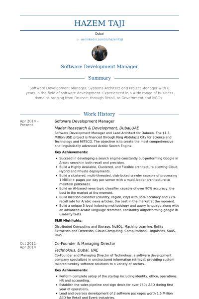 Software Development Manager Resume samples - VisualCV resume ...
