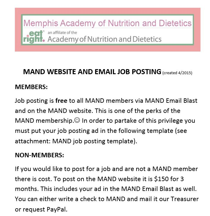Memphis Academy of Nutrition and Dietetics - Job Postings