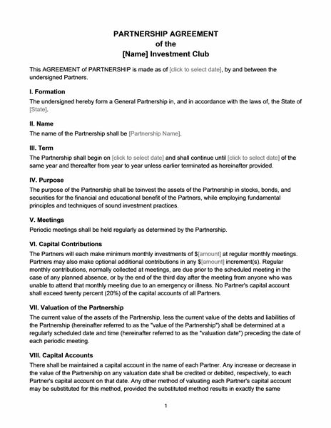 Investment club partnership agreement - Office Templates