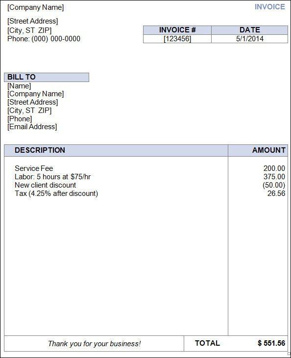 free blank invoice