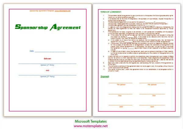 Sponsorship Agreement. Doc Athlete Sponsorship Contract Template ...