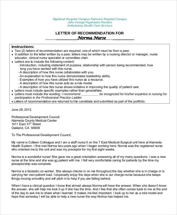 8+ Sample Nursing Recommendation Letter - Free Sample, Example ...