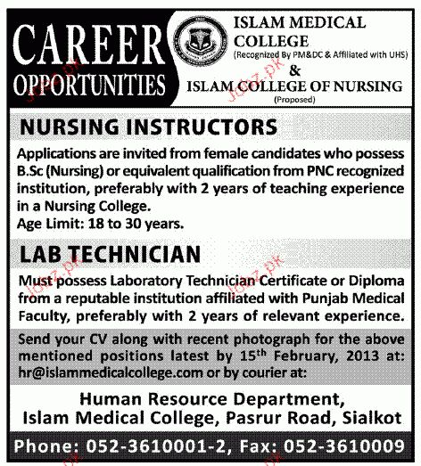 Nursing Instructors and Lab Technicians Job Opportunity 2017 Jobs ...