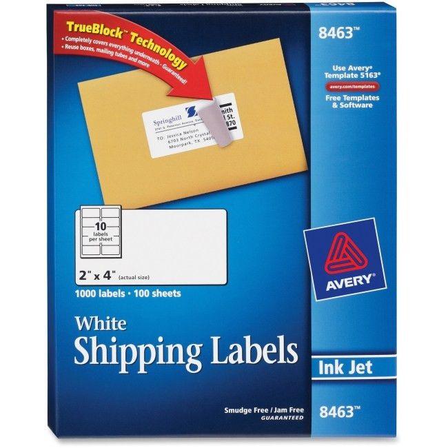 Avery 8463 White Inkjet Shipping Labels Permanent Adhesive - 2 ...
