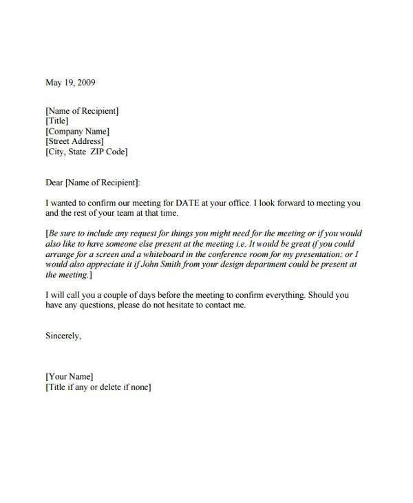 7+Meeting Appointment Letter Template - 8+ Free Word, PDF Format ...