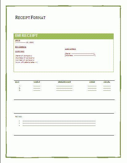 Payment Receipts Form | A to Z Free Printable Sample Forms