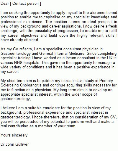Medical Doctor Cover Letter Sample