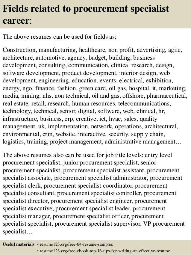 Top 8 procurement specialist resume samples