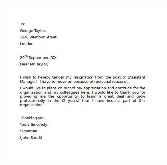 Simple Resignation Letter Template 15 Free Word Excel Pdf Simple ...