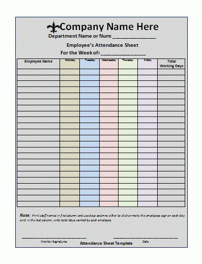 Printable Attendance Sheet Tracking Template Sample in Two Weeks ...