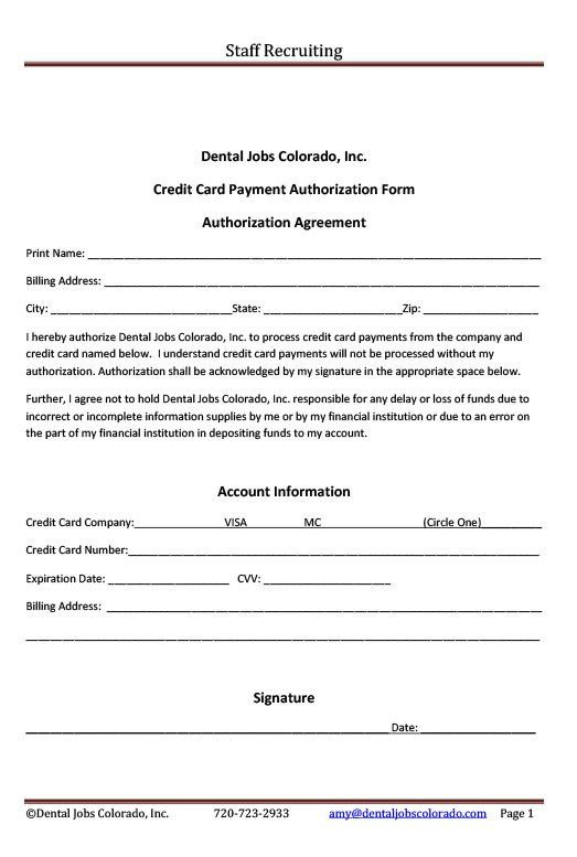 Credit Card Authorization Form | Amy Kirsch & Associates ...