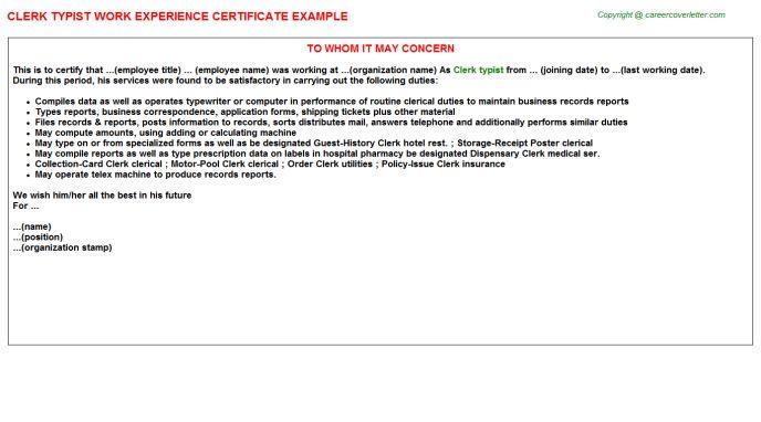 Clerk Typist Work Experience Certificate