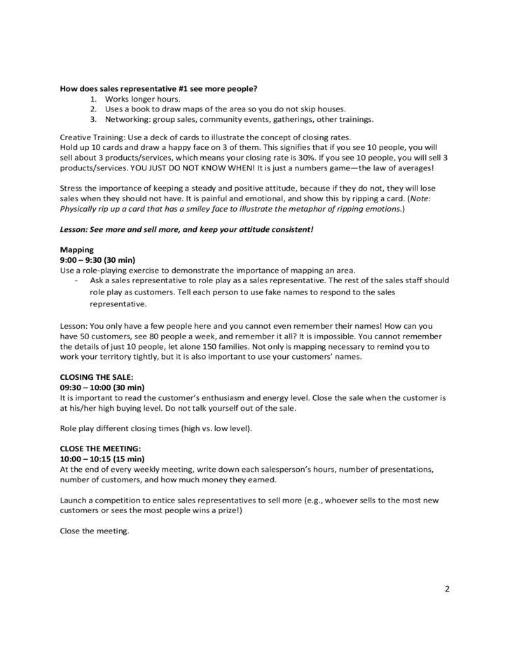 Sample Fields Sales Training Agenda Free Download