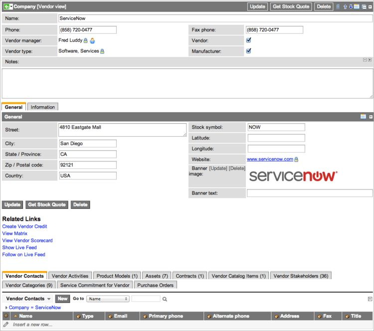 Using Vendor Performance - ServiceNow Wiki