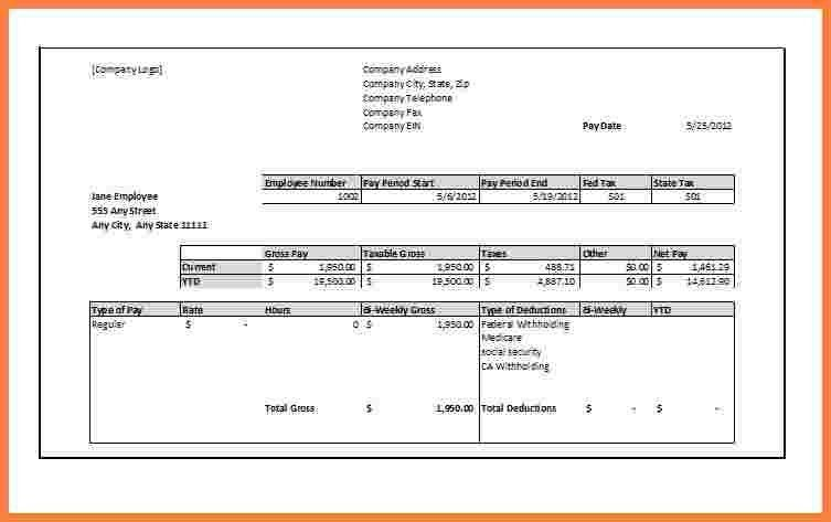 6+ paycheck template microsoft word | Securitas Paystub