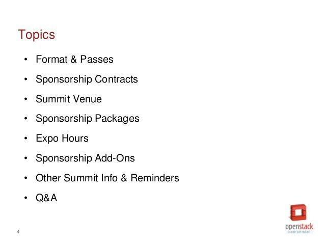 OpenStack Paris Summit: Sponsorship Overview