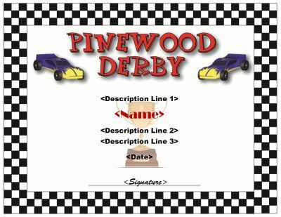 Pinewood Derby Certificate template | Cub Scout Derby - Pinewood ...