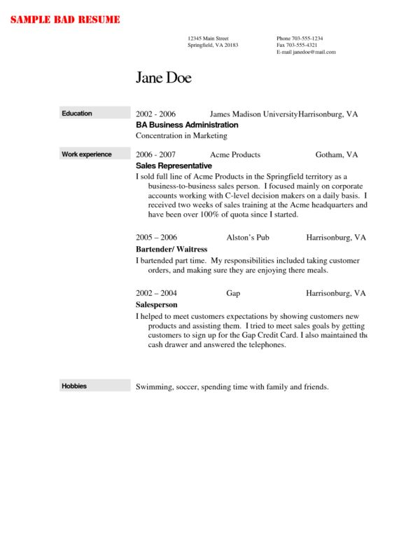 Sample Resume Sample Bartender with Jane Doe and Work Experience ...