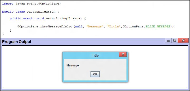 joptionpane.showmessagedialog example - Java Tutorial